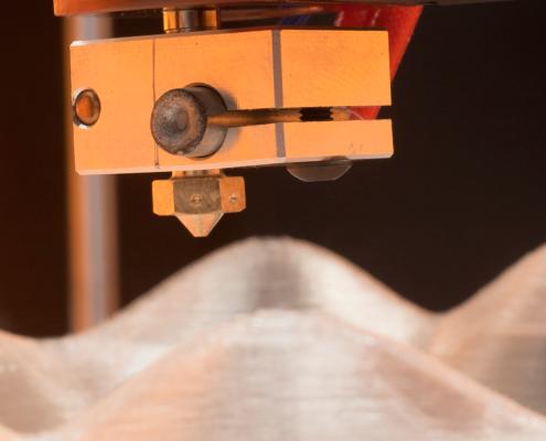 Particolare dell'hotend della stampante 3D Kentstrapper Verve