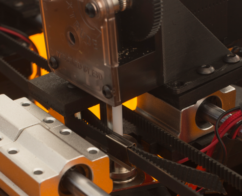 Particolare del sistema di spinta della stampante 3D Kentstrapper Verve