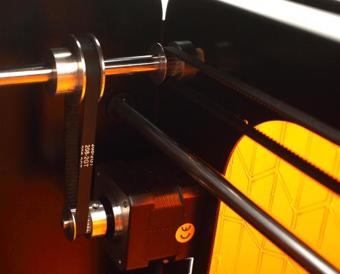Particolare della motoriduzione dell'asse y della stampante 3D Kentstrapper Verve